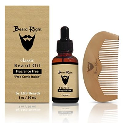 Beard Conditioner Oil & Softener Fragrance Free Complete Beard Kit with Wooden Beard Comb, All Natural Vitamin E, & Jojoba Blend, Mens Facial Hair Care, Removes Itching, Gives Your Beard It's Right!
