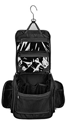 Neatpack Medium Size Hanging Nylon Toiletry Bag & Organizer with Detachable TSA Compliant Zipper Pocket and Swivel Style Hook | Black