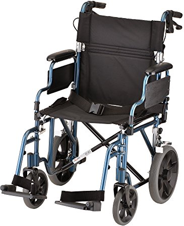 "NOVA Medical Products 352 Lightweight Transport Chair with Detachable Desk Arms, Hand Brakes and 12"" Rear Wheels, 19"", Blue"
