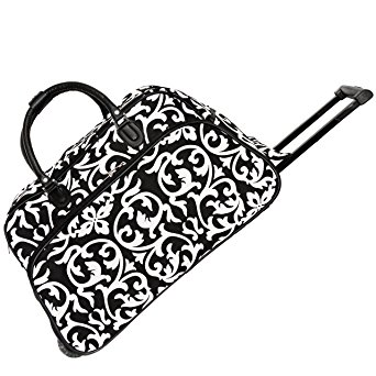 World Traveler 21 Inch Rolling Duffel Bag, Black Trim Damask, One Size