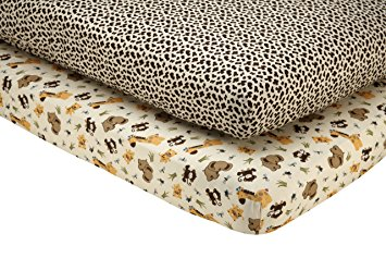 NoJo Little Bedding 2 Count Crib Sheet Set, Jungle Dreams