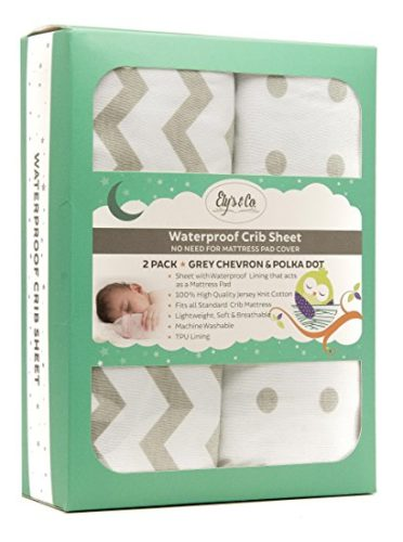 Waterproof Crib Sheet Toddler Sheet by Ely's & Co. no need for Crib Mattress Pad Cover or Crib Mattress Protector