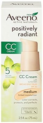 Aveeno Positively Radiant Cc Cream Broad Spectrum SPF 30 Medium, 2.5 Oz