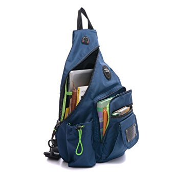 DDDH 13.3-Inch Sling Bag Riding Hiking Bag Single Shoulder Backpack For Men Women(Blue)