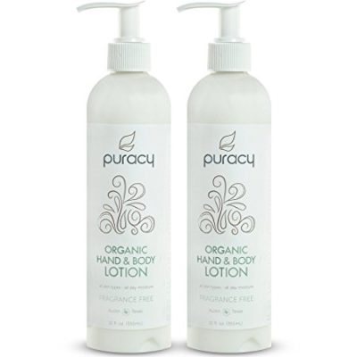 Puracy Organic Hand and Body Lotion, Lightweight Unscented Natural Moisturizer for All Skin Types, Developed by Doctors, Fragrance Free, 12 Ounce Bottle, (Pack of 2)
