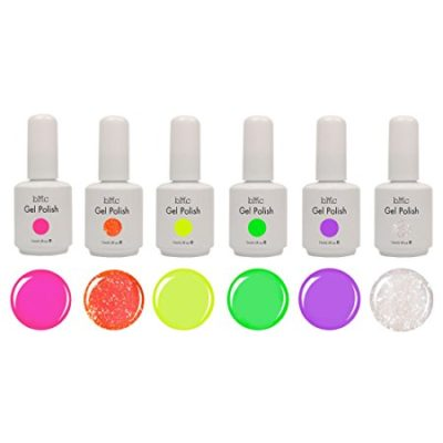 BMC 6pc Color Gel Nail Art Polish UV LED Light Manicure Collection Set - NEONS, Stuck On You Like Gelly Collection