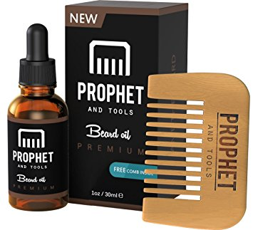Prophet and Tools Beard Oil and Beard Comb Kit! FREE Beard Care Ebook Included - Unscented Leave-in Conditioner, Softener, and Beard Growth - 0% Alcohol, Vegan and Nuts-Free - All Organic Vitamin E