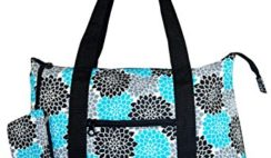 Ever Moda Large Canvas Tote Bag, Floral Print (Multi Teal Blue)