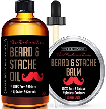 Natural Beard Oil and Conditioner, Mens Gift Set With Beard Balm for Groomed Beard Growth, Mustache, Face and Skin - Softens Your Beard, Stops Itching and Treats Acne, Beard Kit by Pure Body Naturals