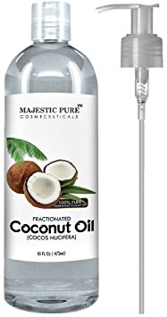 Majestic Pure Fractionated Coconut Oil, 16 fl. oz. For Aromatherapy Relaxing Massage, Carrier Oil for Diluting Essential Oils, Hair & Skin Care Benefits, Moisturizer & Softener