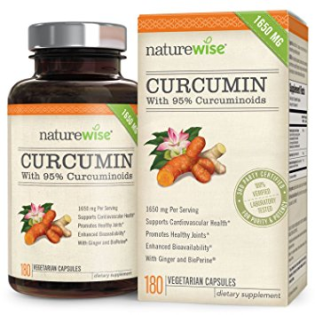 NatureWise Curcumin Turmeric 1650mg with 95% Curcuminoids for Cardiovascular Support & Healthy Joints with Advanced Absorption