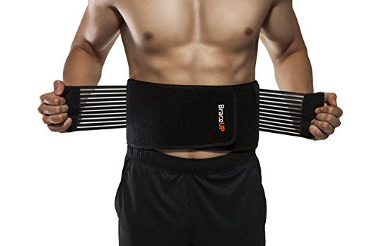 BraceUP Stabilizing Lumbar Lower Back Brace and Support Belt with Dual Adjustable Straps and Breathable Mesh Panels (L/XL)