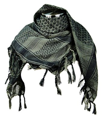 Premium Shemagh Head Neck Scarf - Green Tint/Charcoal