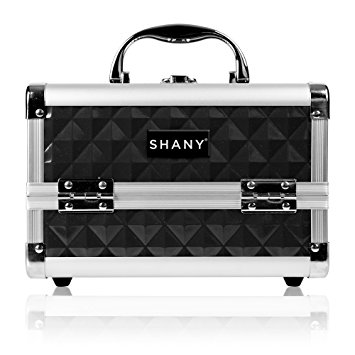 SHANY Mini Makeup Train Case with Mirror in Black and Silver Frame