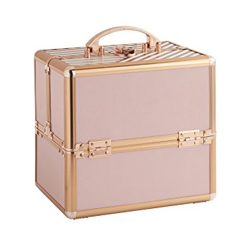 "Beautify Cosmetic Organizer Case - 10"" Professional Aluminum Makeup Storage Box (Blush Pink Stripe Beauty Train Case with Lock)"