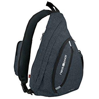 Versatile Canvas Sling Bag / Urban Travel Backpack, Black | Wear Over Shoulder or Crossbody for Men & Women, by NeatPack