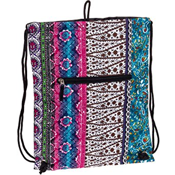 "SilverHooks Womens 15"" Bohemian Sack Drawstring Backpack (Black Trim)"